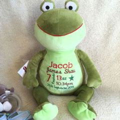 Personalised Soft Toy Animal Cubbie Frog